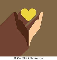 szív, ikon, háló, hosszú, árnyék, kézbesít, lakás