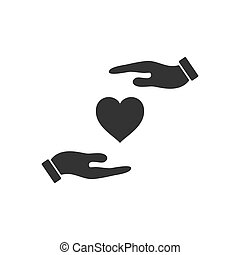 szív, ikon, lakás, kéz