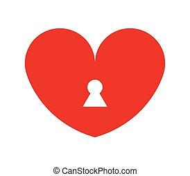 szív, ikon, lakat