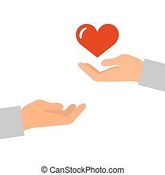 szív, ikon, piros, kézbesít