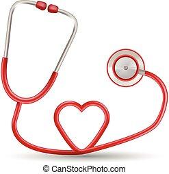 szív, illustration., gyakorlatias, elszigetelt, háttér., alakít, vektor, sztetoszkóp, white piros