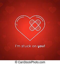 szív, illustration., plaster., valentines, vektor, nap, kártya