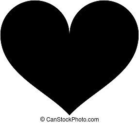 szív, illustration., silhouette., vektor, fekete, ikon