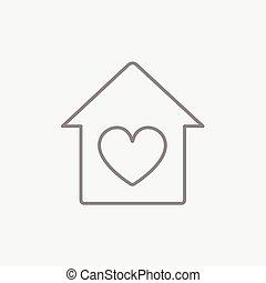 szív, jelkép, egyenes, icon., épület