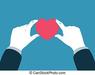 szív, jelkép, hatalom kezezés