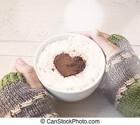 szív, kávécserje, tajtékzik, csésze, kakaó, alakít, hatalom kezezés