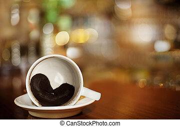 szív, kávécserje, zacc, bár, csésze