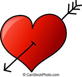 szív, kéz, nyíl, húzott
