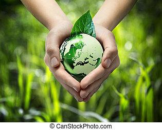 szív, -, kéz, zöld, gra, világ