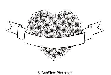 szív körvonalaz, ünnepies, alakzat., nyomtatás, fekete, köszöntések, white virág, szalag
