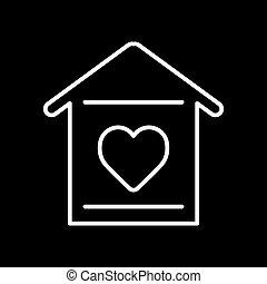 szív körvonalaz, egyszerű, épület, háttér., vektor, fekete, icon.