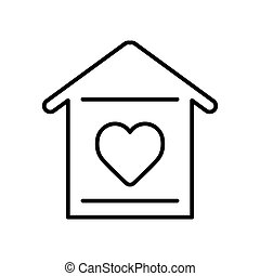 szív körvonalaz, egyszerű, épület, háttér., vektor, icon., fehér