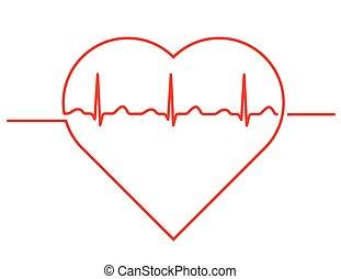 szív, kardiogram, ikon
