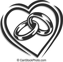 szív, karika, esküvő
