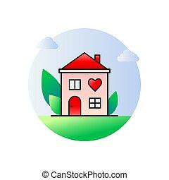 szív, karika, jel, vagy, ikon, épület, fogalom, alakít
