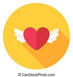 szív, karika, kasfogó, ikon