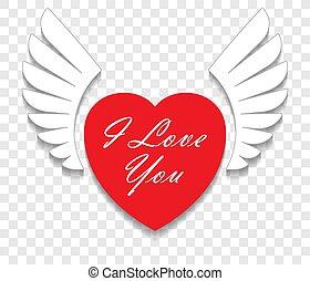 szív, kasfogó, szeret, valentine's, fehér, elszigetelt, ön, felirat, piros háttér, árnyék, áttetsző, kártya