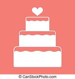 szív, kazalba rakott, lakás, szín, desszert, torta, vektor, esküvő, fedő, ikon