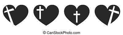 szív, kereszt, keresztény, icon., alakít, vektor