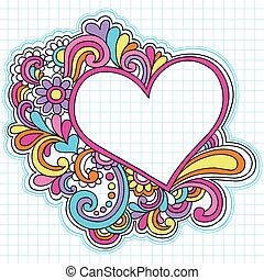 szív, keret, vektor, doodles, jegyzetfüzet