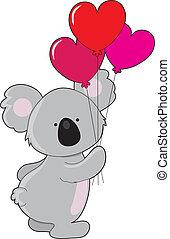 szív, koala, léggömb