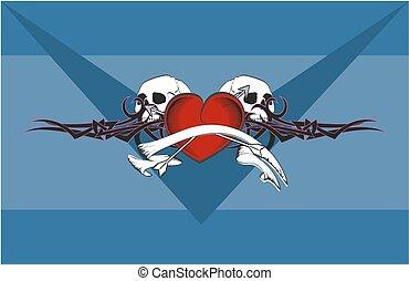 szív, koponya, tetovál