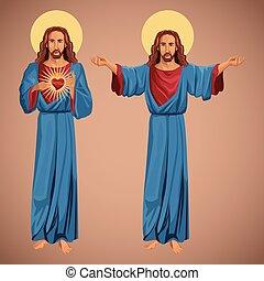 szív, krisztus, kép, két, jézus, szent