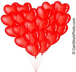 szív, léggömb, csokor, piros, alakít