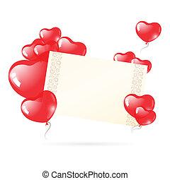 szív, léggömb, nap, kártya, valentine's