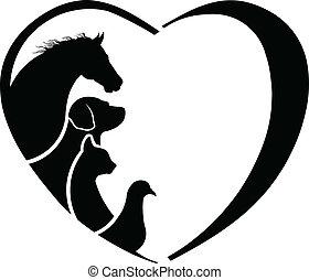 szív, ló, absztrakció, love., állatorvos, állat törődik