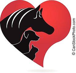 szív, ló, szeret, kutya, macska, alakít, jel