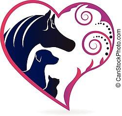 szív, ló, szeret, kutya, macska, jel