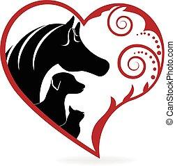szív, ló, szeret, swirly, kutya, macska, jel