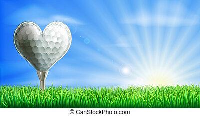 szív, labda, golf, alakú