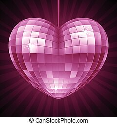 szív, labda, heart., bíbor, disco, alakít, vektor, tükör