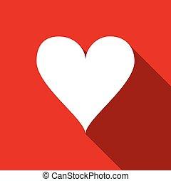 szív, lakás, ábra, vektor, hosszú, shadow., ikon