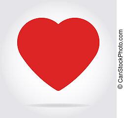 szív, lakás, árnyék, style., piros, ikon