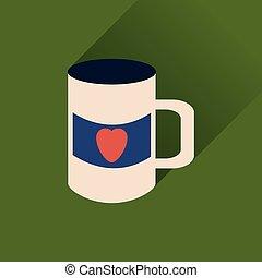 szív, lakás, csésze, hosszú, háló, árnyék, ikon