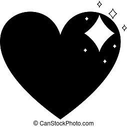 szív, lakás, egyszerű, elszigetelt, háttér., vektor, fekete, ikon, tervezés, fehér, csillogó