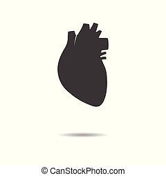 szív, lakás, egyszerű, -, elszigetelt, háttér, vektor, tervezés, emberi, fehér, ikon