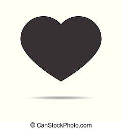 szív, lakás, egyszerű, -, elszigetelt, háttér, vektor, tervezés, fehér, ikon