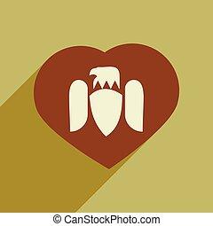 szív, lakás, hosszú, árnyék, sas icon