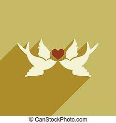 szív, lakás, hosszú, háló, árnyék, madarak, ikon