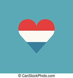 szív, lakás, lobogó, luxemburg, alakít, tervezés, ikon