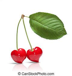 szív, levél növényen, cseresznye, elszigetelt, alakít, white piros