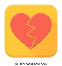 szív, lezuhan, app, hosszú, árnyék, ikon