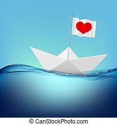 szív, lobogó, dolgozat, piros, csónakázik