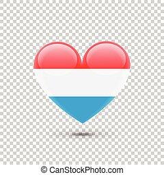 szív, lobogó, luxemburg, ikon