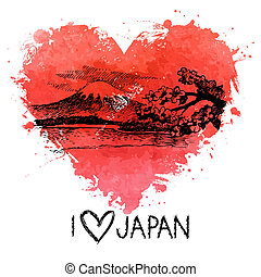 szív, loccsanás, ábra, vízfestmény, skicc, kéz, húzott, japán
