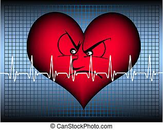 szív, mérges, egyenes, kardiogram